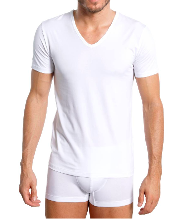 Dry Cotton T-Shirt mit V-Ausschnitt