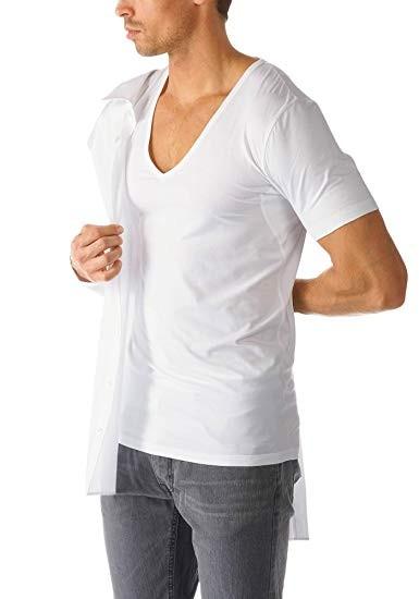 Dry Cotton Functional T-Shirt mit V-Ausschnitt